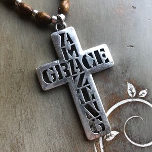 Jewelry - Amazing Grace Cross Leather Bead Necklace Set